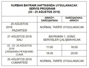 Kurban Bayrami Haftasinda uygulanacak servis programi