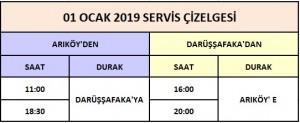 01 Ocak 2019 Servis Cizelgesi